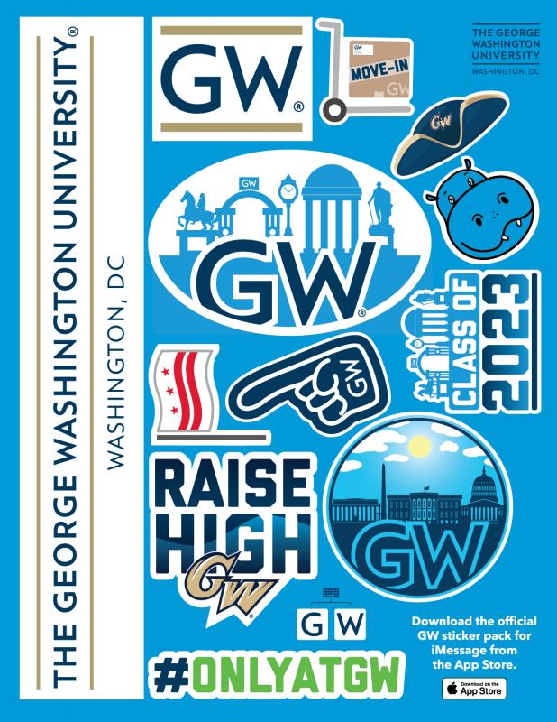 The George Washington University custom sticker sheet project